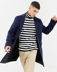 Another Influence Wool Blend Overcoat Navy