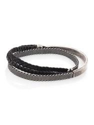 Title Of Work Sterling Silver And Leather Wrap Bracelet Black