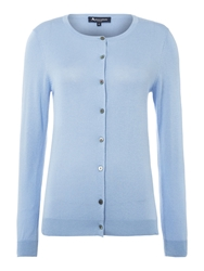 Aquascutum London Beatrice Silk And Cashmere Cardigan Blue