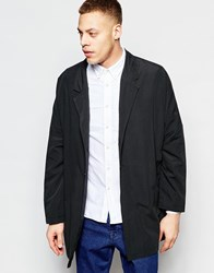 Asos Drop Shoulder Duster Coat In Black Black