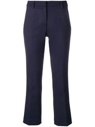 Semicouture Tailored Cropped Trousers Blue