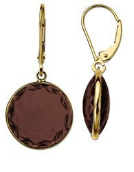 Lord And Taylor Smoky Quartz Earrings In 14K Yellow Gold Smokey Quartz Gold