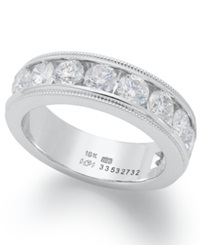 Macy's Diamond Ring 18K White Gold Certified Diamond Milgrain Anniversary Band 2 Ct. T.W.
