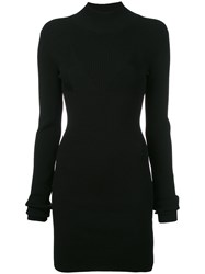 Off White Fitted Mini Knitted Dress Women Polyester Viscose Xs Black