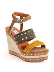 Lanvin Studded Suede Espadrille Wedge Sandals Bright Pink Yellow