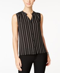Nine West Striped V Neck Blouse Black Ivory