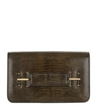 Tom Ford Tara Lizard Skin Clutch Green