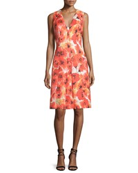 Carmen Marc Valvo Sleeveless Floral Print Pleated Dress Size 8 Orange Poppy
