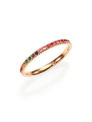 Sydney Evan Multicolor Sapphire Ruby Emerald And 14K Rose Gold Rainbow Eternity Band Ring Rose Gold Multi