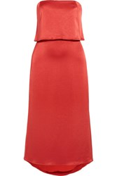 Halston Heritage Tiered Satin Midi Dress Us6