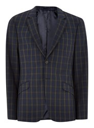 Topman Blue Navy And Brown Check Muscle Fit Suit Jacket