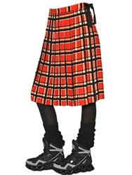 Marc By Marc Jacobs Plaid Techno Crepe Pleated Skirt
