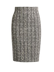 Alexander Mcqueen Cotton And Wool Blend Tweed Skirt Black Multi