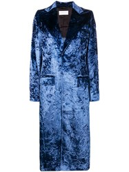 Esteban Cortazar Tailored Crushed Velvet Coat Blue