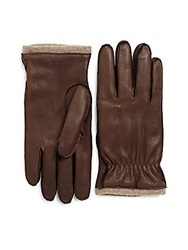 Saks Fifth Avenue Cashmere Lined Deerskin Leather Gloves Brown