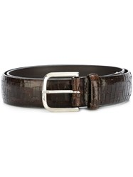 Orciani Scratched Design Belt Brown