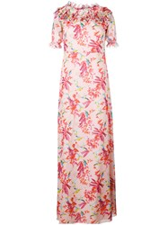 Giamba Floral Print Long Dress Women Silk Cotton Polyester Viscose 42 Pink Purple