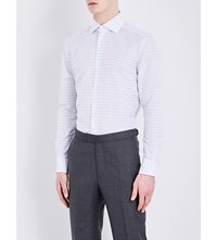 Corneliani Checked Slim Fit Linen Shirt Sky Blue