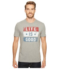 Life Is Good Stars Stripes Crusher Tee Heather Gray Men's T Shirt