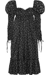 Alexander Mcqueen Floral Print Cotton Voile Maxi Dress Black