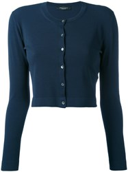 Roberto Collina Cropped Cardigan Women Polyester Viscose S Blue