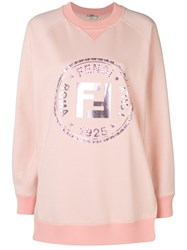 Fendi Embellished Ff Logo Sweatshirt Pink And Purple