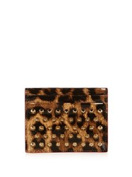 Christian Louboutin Panettone Spike Embellished Patent Card Holder Leopard