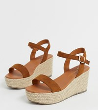 New Look Wide Fit Espadrille Wedges In Tan