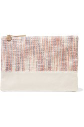 Clare V. V Matilde Woven Canvas And Leather Clutch Ivory