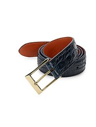 Saks Fifth Avenue Crocodile Leather Belt Navy