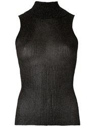 Gig Knitted Turtle Neck Tank Women Polyester P Black