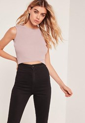 Missguided Purple Wrap Front Sleeveless Crop Top Mauve