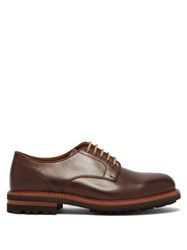 Brunello Cucinelli Tread Sole Leather Derby Shoes Brown