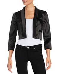 Adrianna Papell Satin Open Front Jacket Black