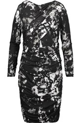 Roberto Cavalli Ruched Printed Stretch Jersey Dress Black