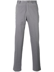 Ermenegildo Zegna Slim Fit Tailored Trousers Men Cotton Spandex Elastane Cashmere 48 Grey