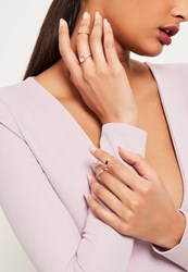Missguided Rose Gold Diamante Detail Ring Pack Pink
