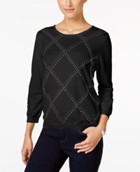 Alfred Dunner Petite Classics Embellished Sweater Black