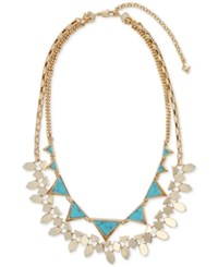 Vera Bradley Gold Tone Blue Stone Triangle And Geometric Disc Layered Statement Necklace