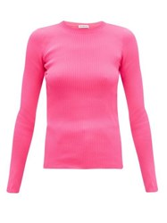 Balenciaga Crew Neck Rib Knitted Sweater Pink