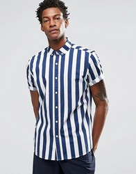 Asos Shirt With Breton Stripe In Navy With Short Sleeves In Regular Fit Navy