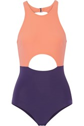 Flagpole Swim Vera Cutout Color Block Swimsuit Pastel Orange Plum