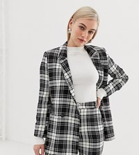 Asos Design Petite Mono Check Suit Blazer Multi