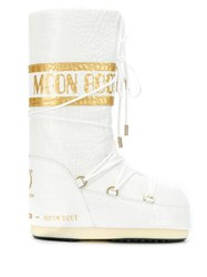 Moon Boot Crocodile Effect Snow Boots White