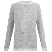 Orwell Austen Cashmere Chunky Sweater In Speckled White And Grey White Grey