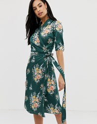 Liquorish Floral Midi Wrap Dress With Ruffle Detail Multi