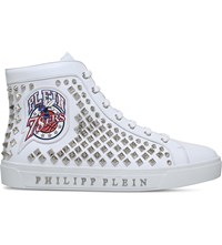 Philipp Plein Heaven Studded Leather Trainers White