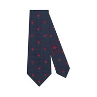 Gucci Double G Hearts And Flowers Silk Tie Navy