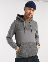 Soul Star Teddy Hoodie With Panelling In Grey