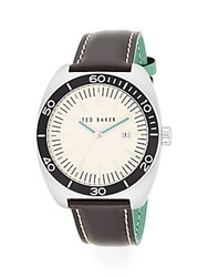 Ted Baker Round Stainless Steel And Two Tone Leather Watch Silver Brown